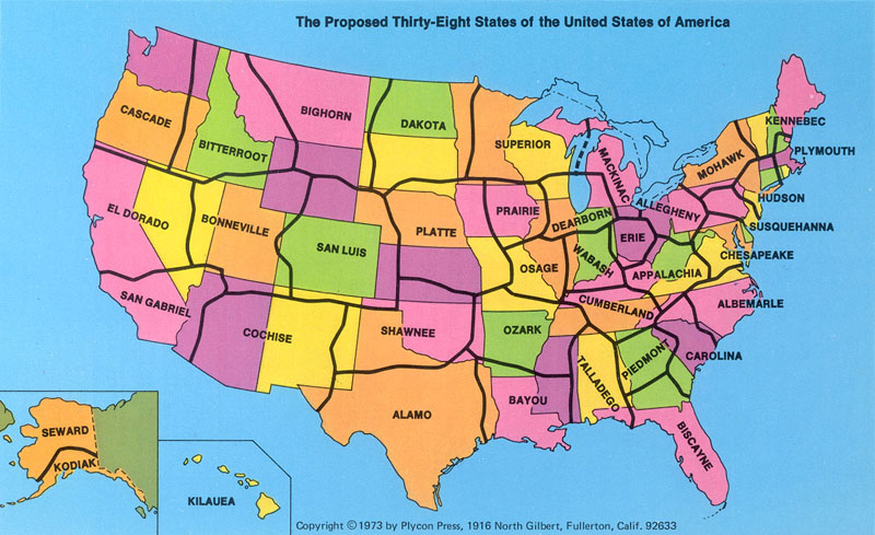 map of us states. The Proposed 38 States of the